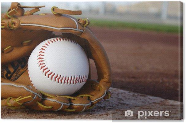 Cuadro en Lienzo Béisbol y guante en el campo de béisbol - Deportes de equipo