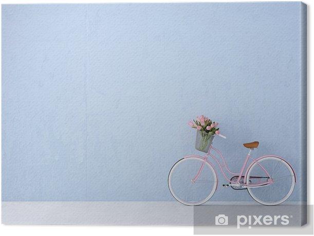 Cuadro en Lienzo Bicicleta de la vendimia retro de la pared de edad y azul. Las 3D - Transportes