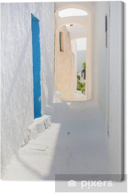 Cuadro en Lienzo Blanco tradicional calle vacía en la pequeña ciudad en el griego - Agua