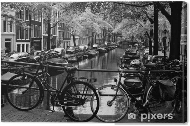 Cuadro en Lienzo Bloemgracht d'Amsterdam - Bicicletas