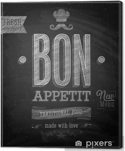 Cuadro en Lienzo Bon Appetit del cartel - pizarra. Ilustración del vector. - Ventas
