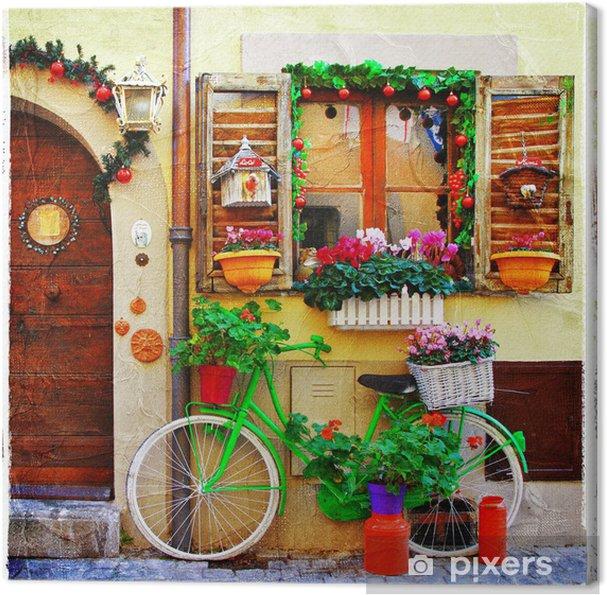 Cuadro en Lienzo Bonitas calles de pequeños pueblos italianos - Temas