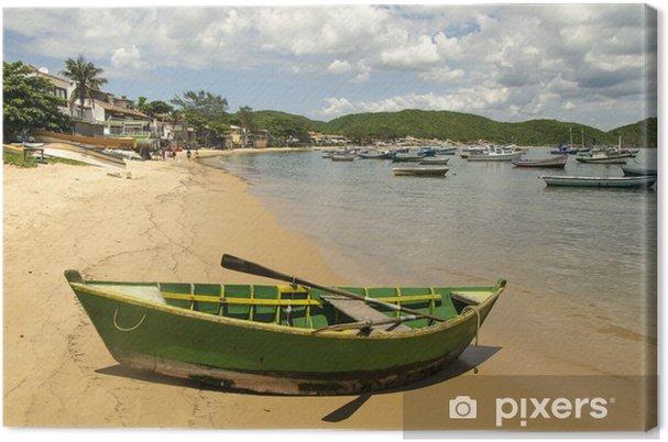 Cuadro en Lienzo Boot am Strand von Buzios, Brasilien - América