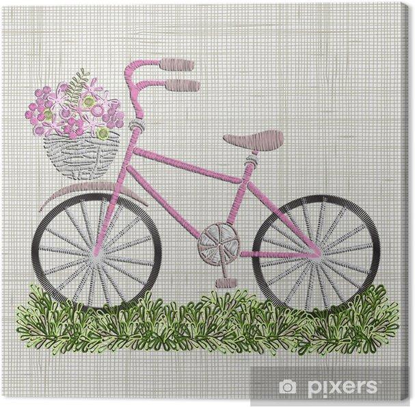 Cuadro en Lienzo Bordado de bicicleta con flores de color rosa en la ...