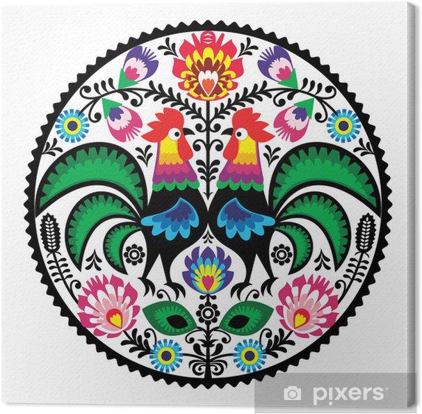 Cuadro en Lienzo Bordados florales polaca con el patrón popular gallos - Vinilo para pared
