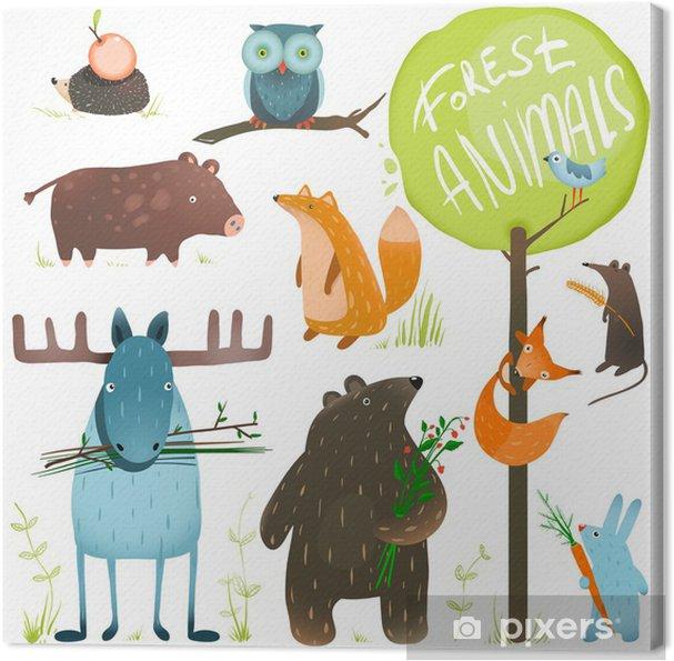 Cuadro en Lienzo Bosque de dibujos animados Animales Conjunto - Mamíferos