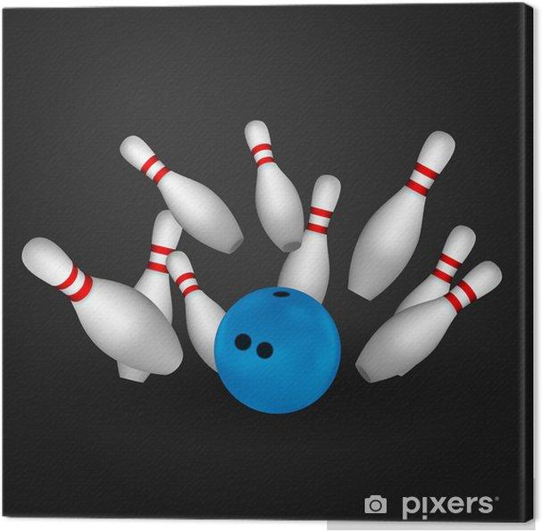 Cuadro en Lienzo Bowl y bolos. Concepto de Bowling. - Deportes individuales