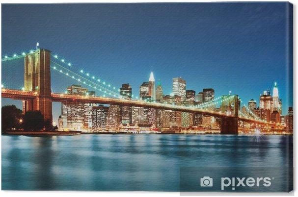 Cuadro en Lienzo Brooklyn bridge at night -