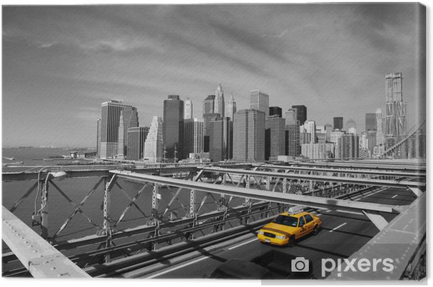 Cuadro en Lienzo Brooklyn Bridge Taxi, New York -