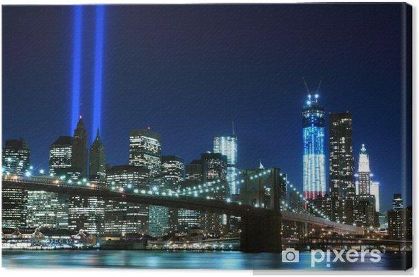 Cuadro en Lienzo Brooklyn Brigde y las torres de luces, Ciudad de Nueva York -