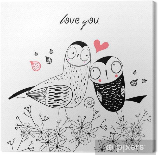 Cuadro en Lienzo Búhos amor - Búhos