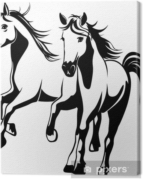 Cuadro en Lienzo Caballos salvajes - ilustración vectorial blanco y negro - Vinilo para pared