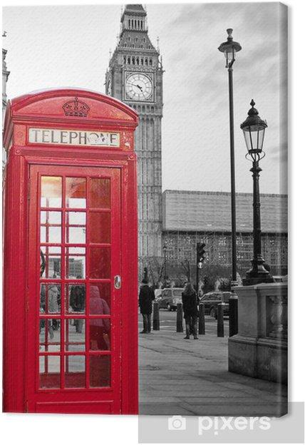 Cuadro en Lienzo Cabina de teléfono roja en Londres con el Big Ben en blanco y negro -