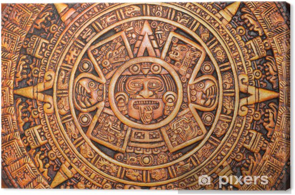 Calendario Azteca.Cuadro En Lienzo Calendario Azteca
