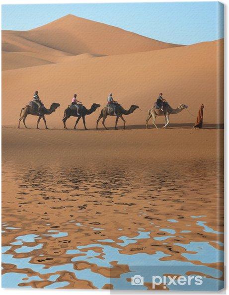 Cuadro en Lienzo Camello Caravana en el desierto del Sahara - Desierto
