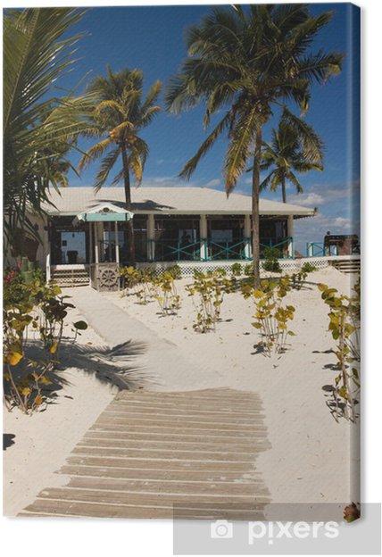 Cuadro en Lienzo Camino de madera que conduce a la barra de playa tropical - Agua