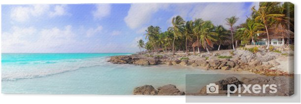 Cuadro en Lienzo Caribe de Tulum México panorámica playa tropical - América