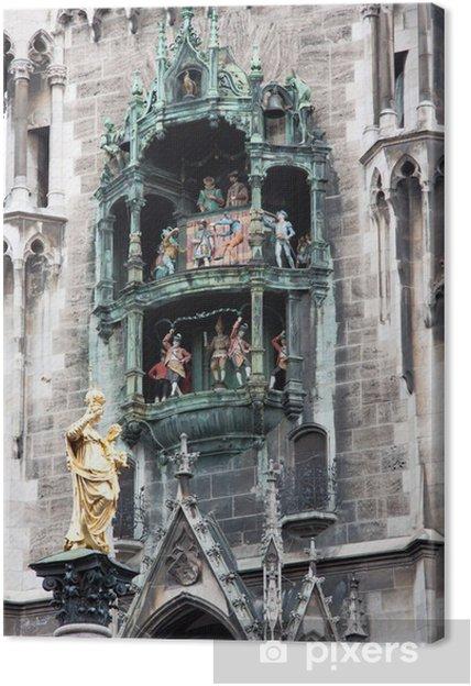 Cuadro en Lienzo Carillon del municipio, Marienplatz - Monaco di Baviera - Europa