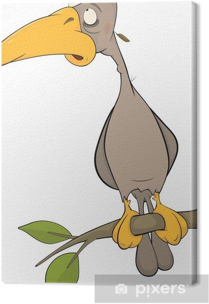 Cuadro En Lienzo Cartoon Pájaro Carpintero En Un árbol Dibujos