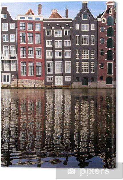 Cuadro en Lienzo Casas del canal de Amsterdam, Países Bajos con reflexiones - Ciudades europeas