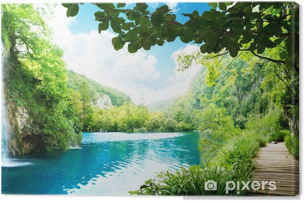 Cuadro en Lienzo Cascada en el bosque profundo - Temas