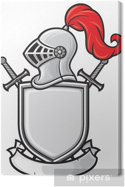 Cuadro en Lienzo Casco de caballero medieval, escudo, espadas cruzadas y la bandera - Caballeros