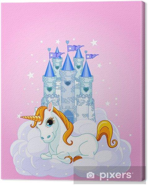 Cuadro en Lienzo Castillo y unicornio - Para chica