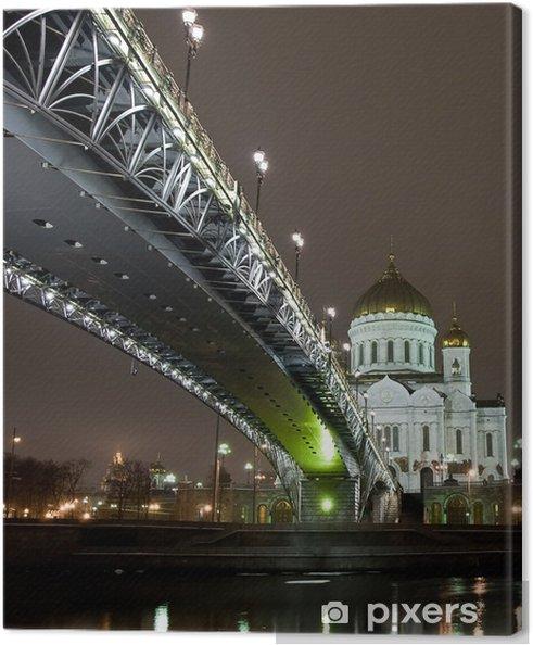 Cuadro en Lienzo Catedral de Cristo Salvador en Moscú, opinión de la noche con el puente - Moscú