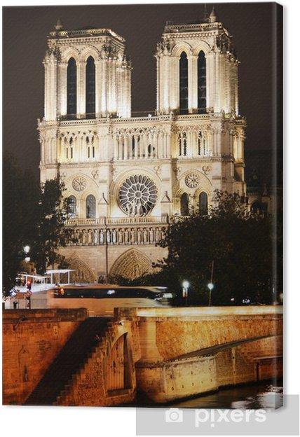 Cuadro en Lienzo Catedral de Notre-Dame en París, Francia por noche - Ciudades europeas