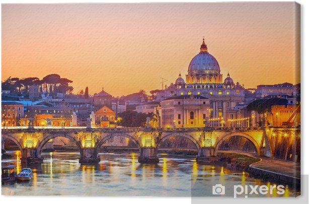 Cuadro en Lienzo Catedral de San Pedro en la noche, Roma -
