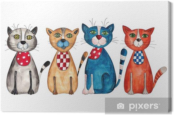 Cuadro en Lienzo Cats. Acuarelas sobre papel - Destinos