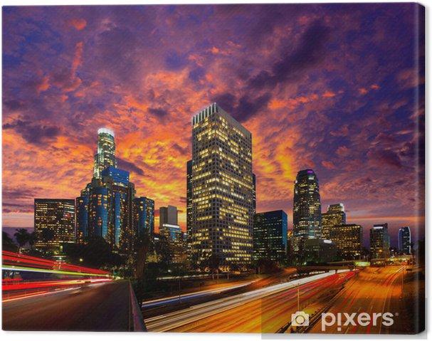 Cuadro en Lienzo Centro de Los Angeles la noche de Los Ángeles horizonte de la puesta del sol de California - Temas