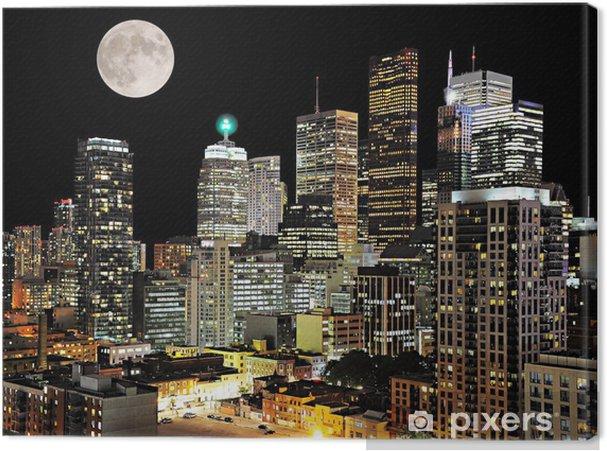 Cuadro en Lienzo Centro de Toronto. Vista a la ciudad la noche. - Temas