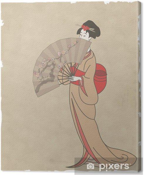 Cuadro en Lienzo Chica japonesa con un ventilador en el papel viejo - Asia
