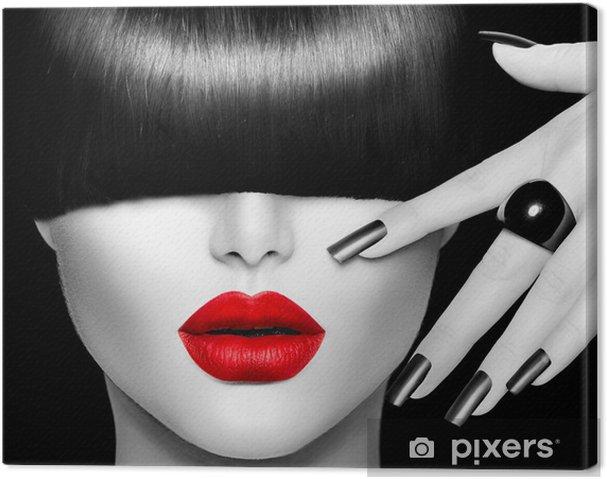 Cuadro en Lienzo Chica Modelo de modas con moda Peinado, maquillaje y manicura - Moda
