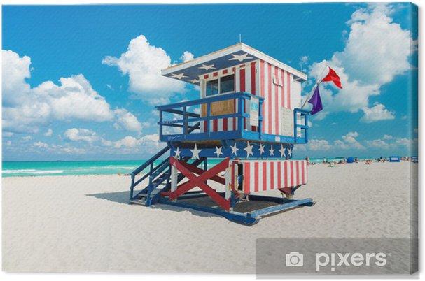 Cuadro en Lienzo Choza del salvavidas en South Beach-Miami - América