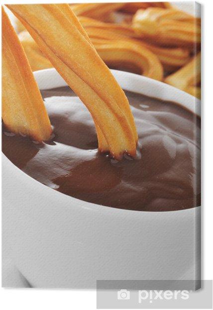 Cuadro en Lienzo Churros con chocolate, una típica merienda dulce españolas - Dulces y postres