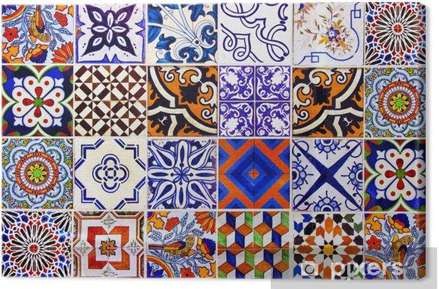 Cuadro en Lienzo Cierre de las baldosas cerámicas tradicionales de Lisboa - Azulejos