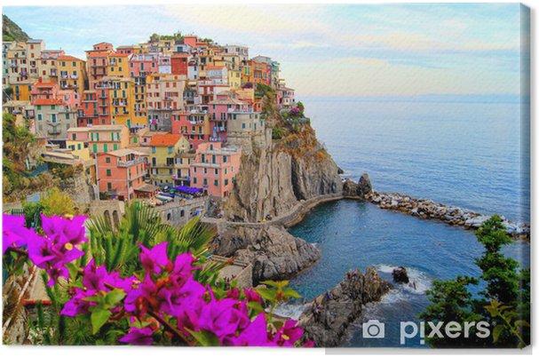 Cuadro en Lienzo Cinque Terre costa de Italia con flores - Temas