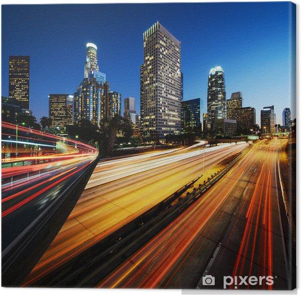 Cuadro en Lienzo Ciudad de Los Angeles California al atardecer con estelas de luz - Temas