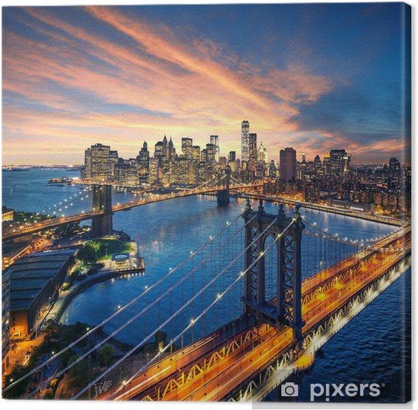 Cuadro en Lienzo Ciudad de Nueva York - puesta de sol sobre Manhattan y Brooklyn puente - Temas