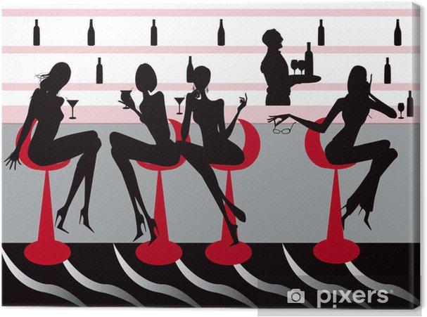 Cuadro en Lienzo Club de restaurante bar café Ilustración vectorial mujeres - Comercios