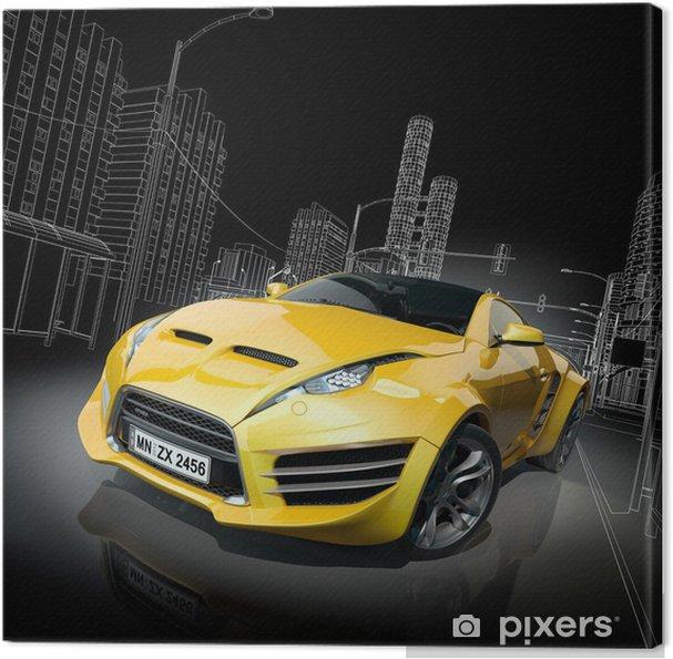 Cuadro en Lienzo Coche deportivo amarillo. Diseño original del coche. -
