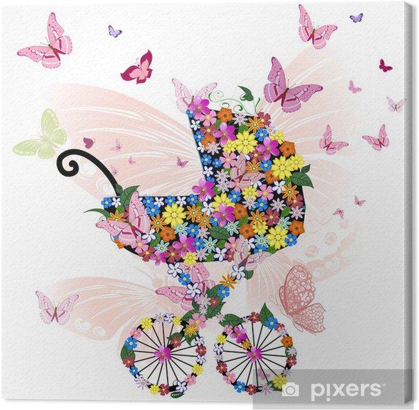 Cuadro en Lienzo Cochecito de flores y mariposas - Flores