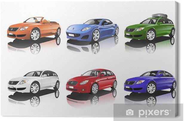 Cuadro en Lienzo Colección de coches - Por carretera