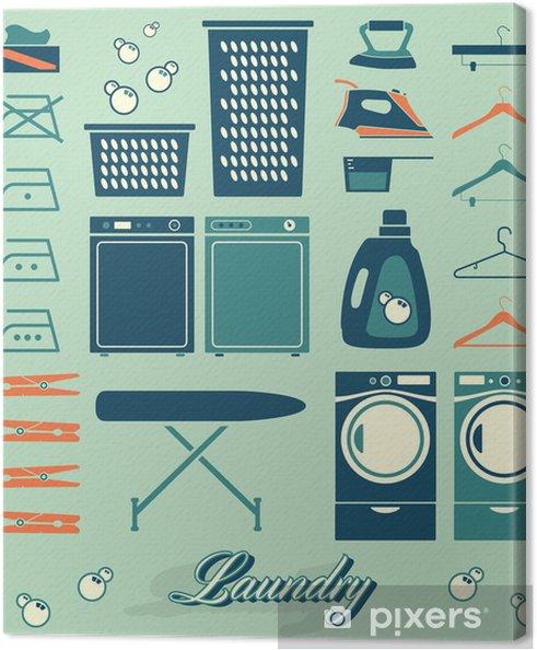 Cuadro en Lienzo Colección de estilo retro símbolos sala de lavandería y los iconos - Casa y jardín