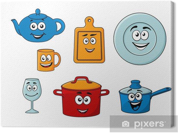 Cuadro En Lienzo Coleccion De Utensilios De Cocina De Dibujos