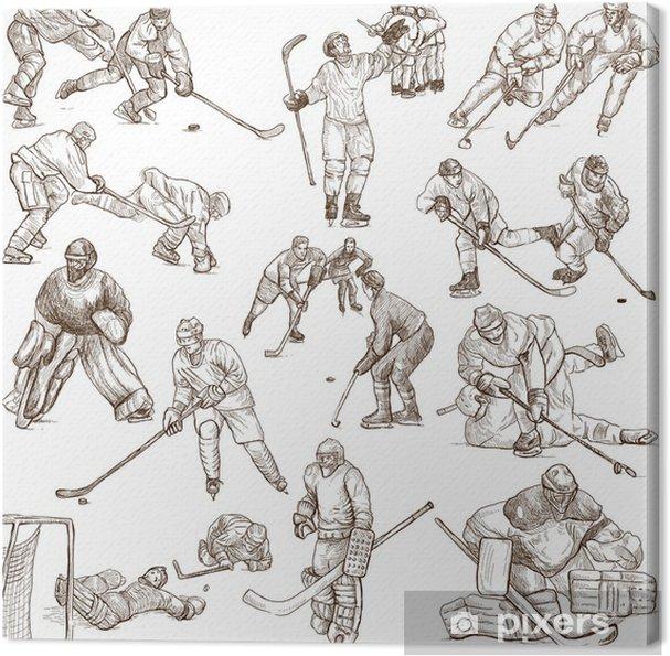 Cuadro en Lienzo Colección dibujos a mano en blanco - Hockey sobre ...