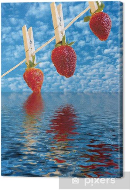 Cuadro en Lienzo Colgante de la fresa se seque el agua por encima - Temas