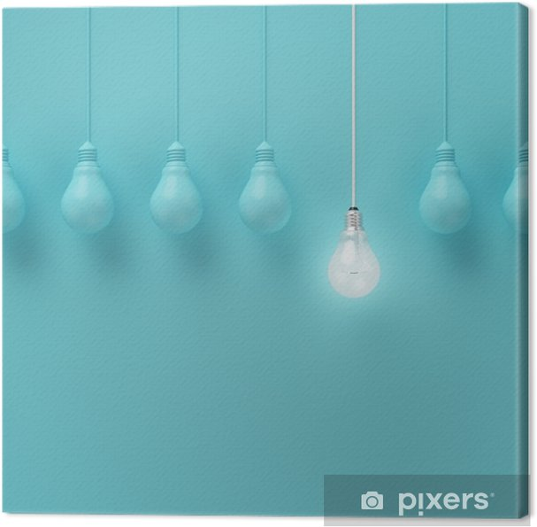Cuadro en Lienzo Colgar las bombillas con una brillante idea diferente sobre fondo azul claro, la idea Mínimo concepto, en plano, la parte superior - Negocios
